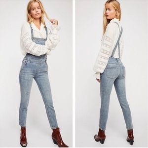 Free People} Denim Overalls